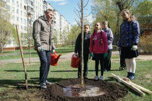 Студенты Психолого-педагогического университета заложили Аллею памяти. Фото: Никита Смирнов, «Вечерняя Москва»
